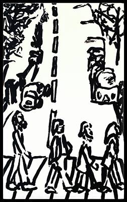 Album Covers Drawing - Abbey Road by Edward Pebworth