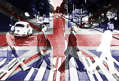 Paul Mccartney Digital Art - Abbey Road Union Jack by Dan Sproul