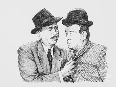 Slapstick Drawing - Abbot And Costello by Paul Wolff