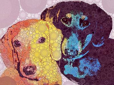 Pup Digital Art - Abby And Simon by Cindy Edwards