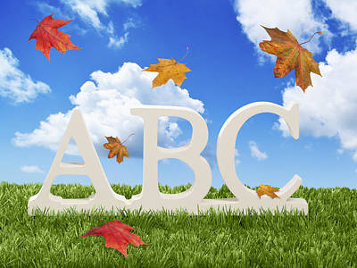 Abc Letters With Autumn Leaves Print by Amanda Elwell