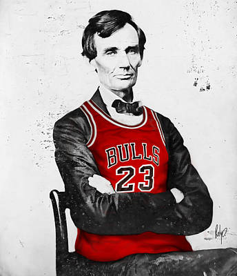 Abe Lincoln In A Bulls Jersey Print by Roly Orihuela