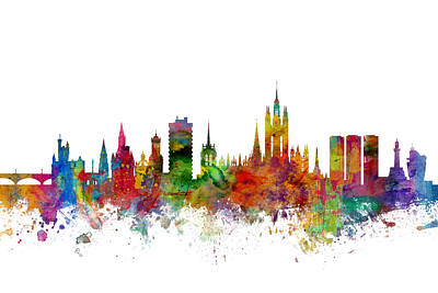 Great Britain Digital Art - Aberdeen Scotland Skyline by Michael Tompsett