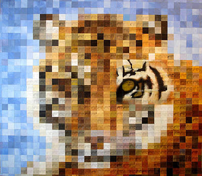 Mosaic Photograph - About 400 Sumatran Tigers Acrylic On Paper by Charlie Baird