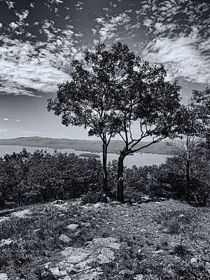 Above Lake George Black And White Print by Joshua House