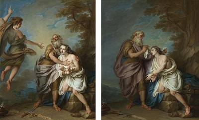 Abraham And The Angel Print by Celestial Images