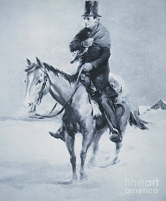 Lincoln Drawing - Abraham Lincoln Riding His Judicial Circuit by Louis Bonhajo