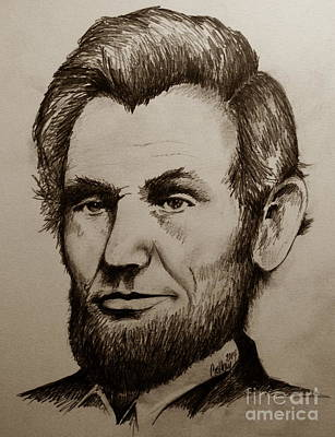 Honest Abe Drawing - Abraham Lincoln Sepia Tone by Catherine Howley