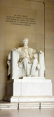 Lincoln Memorial Photograph - Abraham Lincolns Statue In A Memorial by Panoramic Images