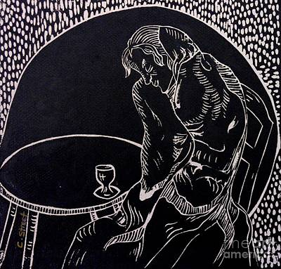 Absinthe Drinker After Picasso Print by Caroline Street