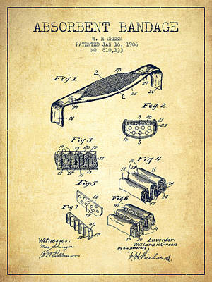 Absorbent Bandage Patent From 1906 - Vintage Print by Aged Pixel