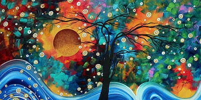 Tree Painting - Abstract Art Bold Colorful Landscape Painting Halo Of Fire By Madart by Megan Duncanson
