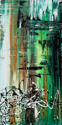 Abstract Art Colorful Original Painting Green Valley By Madart Print by Megan Duncanson