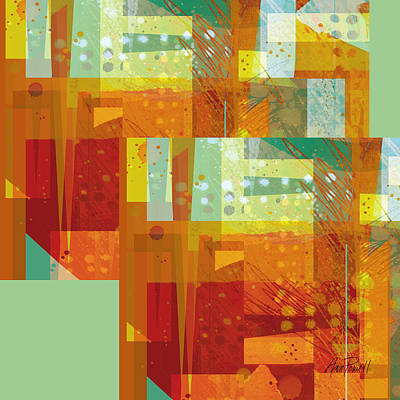 abstract - art- Intersect Orange   Print by Ann Powell