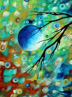 Lime Tree Painting - Abstract Art Landscape Circles Painting A Secret Place 1 By Madart by Megan Duncanson