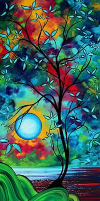 Moon Painting - Abstract Art Landscape Tree Blossoms Sea Painting Under The Light Of The Moon I  By Madart by Megan Duncanson