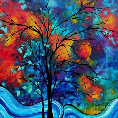 Oversized Painting - Abstract Art Landscape Tree Bold Colorful Painting A Secret Place By Madart by Megan Duncanson