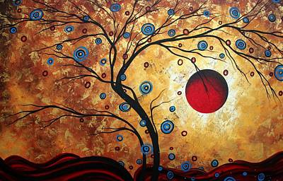 Whimsy Painting - Abstract Art Landscape Tree Metallic Gold Texture Painting Free As The Wind By Madart by Megan Duncanson