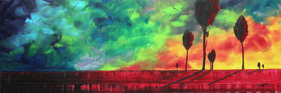 Abstract Art Original Colorful Landscape Painting Burning Skies By Madart  Print by Megan Duncanson