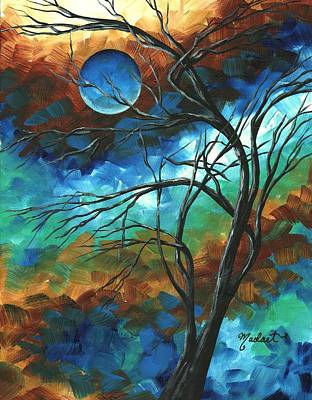 Abstract Art Original Colorful Painting Mystery Of The Moon By Madart Print by Megan Duncanson