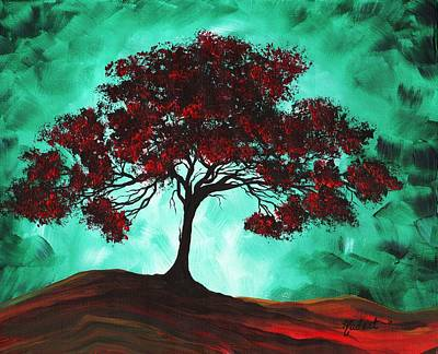 Abstract Art Original Colorful Tree Painting Passion Fire By Madart Print by Megan Duncanson