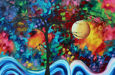 Abstract Art Original Enormous Bold Painting Essence Of The Earth I By Madart Print by Megan Duncanson