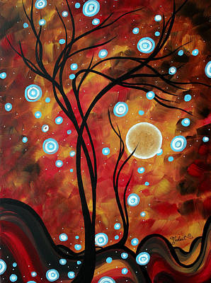 Abstract Art Original Landscape Circle Painting Fairy Dust By Madart Print by Megan Duncanson