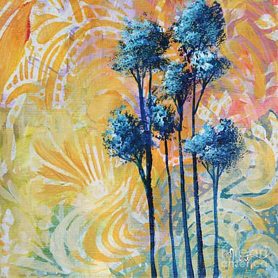 Abstract Art Original Landscape Painting Contemporary Design Blue Trees II By Madart Print by Megan Duncanson