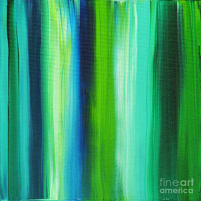 Lime Painting - Abstract Art Original Textured Soothing Painting Sea Of Whimsy Stripes I By Madart by Megan Duncanson