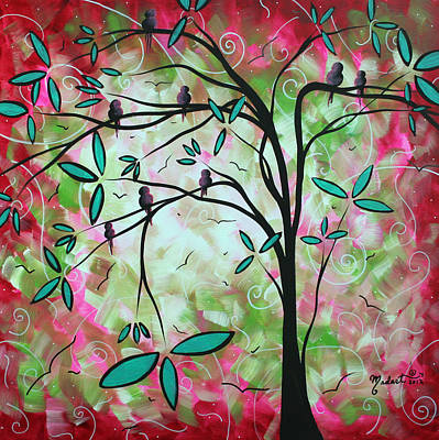 Pink Painting - Abstract Art Original Whimsical Magical Bird Painting Through The Looking Glass  by Megan Duncanson