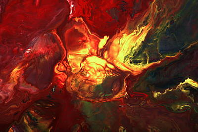 Translucent Painting - Abstract Art Red Green Yellow Two Worlds Meet By Kredart   by Serg Wiaderny
