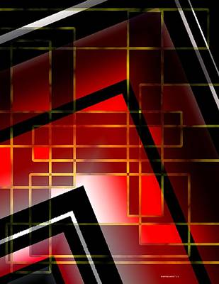 Abstract Art With Lines On Red  Print by Mario Perez