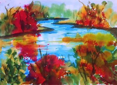 Reds Of Autumn Painting - Abstract - Autumn Blaze On Catskill Creek by Ellen Levinson