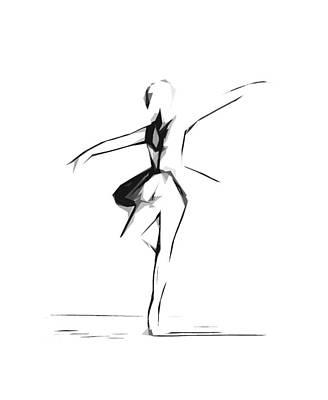 Abstract Ballerina Dancing Print by Steve K