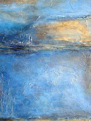 Textured Mixed Media - Transcend Abstract Blue Brown And Gold Textured Painting  by Holly Anderson