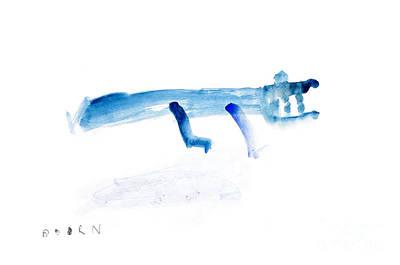 Crocodile Mixed Media - Abstract Blue Crocodile Art Print Watercolor Painting by  Szmerdt