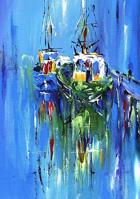 Abstract Boats On Blue Print by Mary Cahalan Lee- aka PIXI