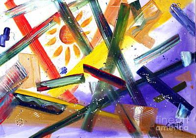 Sun Painting - Abstract - Breaking Through by Corina Hogan