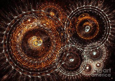 Suburban Digital Art - Abstract Bronze Circle Fractal  by Martin Capek