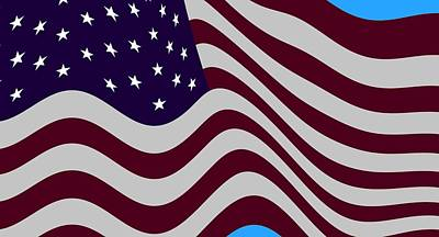 Abstract Burgundy Grey Violet 50 Star Flag Flying Cropped X 2 Print by L Brown