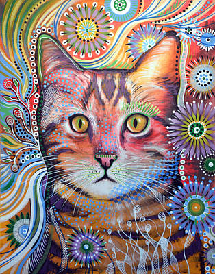 Animal Shelter Painting - Abstract Cat Art ... Olivia by Amy Giacomelli