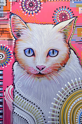 Animal Shelter Painting - Abstract Cat Art Painting ... Slinky by Amy Giacomelli