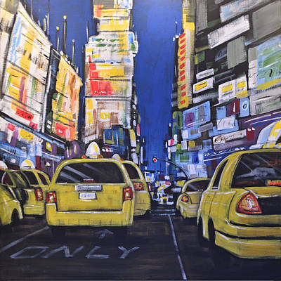 Abstract Painting - Abstract City Landscape New York Street ... Times Square by Amy Giacomelli