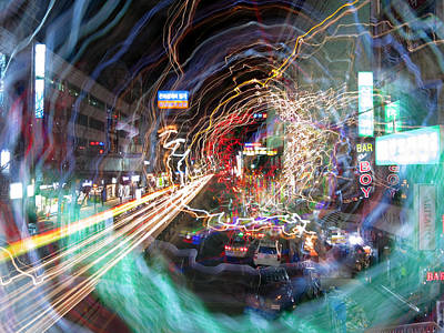 Abstract Digital Light Trails Photograph - Abstract City Lights by Tamas Virag