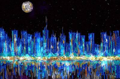Silver Moonlight Painting - Abstract City Skyline by Veronica Minozzi