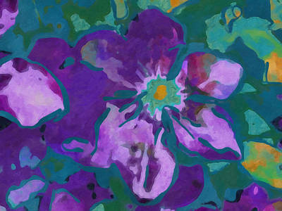 Floral Digital Art - Abstract Clematis by Nancy Aurand-Humpf
