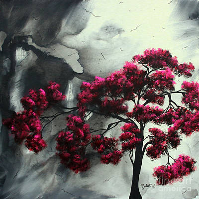 Black Bird.flying Art Painting - Abstract Contemporary Art Landscape Painting Modern Artwork Pink Passion By Madart by Megan Duncanson