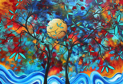 Abstract Contemporary Colorful Landscape Painting Lovers Moon By Madart Print by Megan Duncanson
