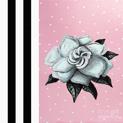 Abstract Contemporary Whimsical Pink Painting Gardenia Flower By Madart Print by Megan Duncanson