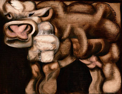 Cow Painting - Funny Cow Art Print by Tommervik